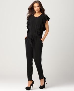 DKNYC Jumpsuit, Scoop Neck Sleeveless Ruffled Tie Pocket Skinny