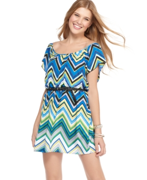 6 Degrees Dress, Short Sleeve Boat Neck Zigzag Belted Mini