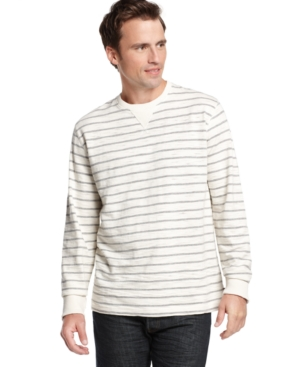 Izod Shirt, Slub Jersey Yarn Dyed Crew Neck Shirt