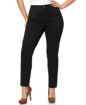 Nydj Plus Size Janice Tummy-Slimming Skinny Jeans, Black Wash