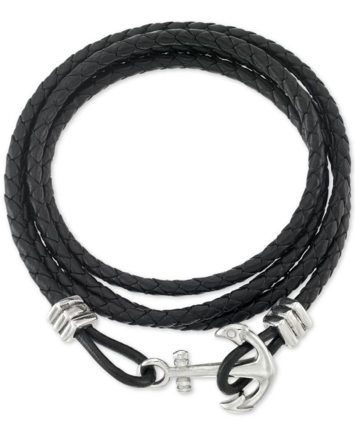LEGACY for MEN by Simone I. Smith Anchor Clasp Braided Leather Wrap Bracelet & Reviews - Bracelets - Jewelry & Watches - Macy's