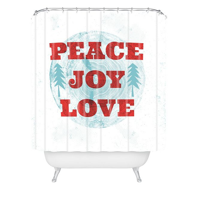 Deny Designs Heather Dutton Peace Joy Love Woodcut Shower Curtain