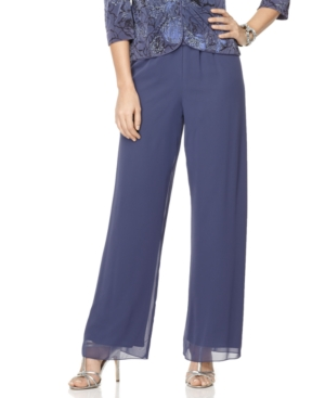Alex Evenings Pants, Wide Leg Chiffon Dress Pants