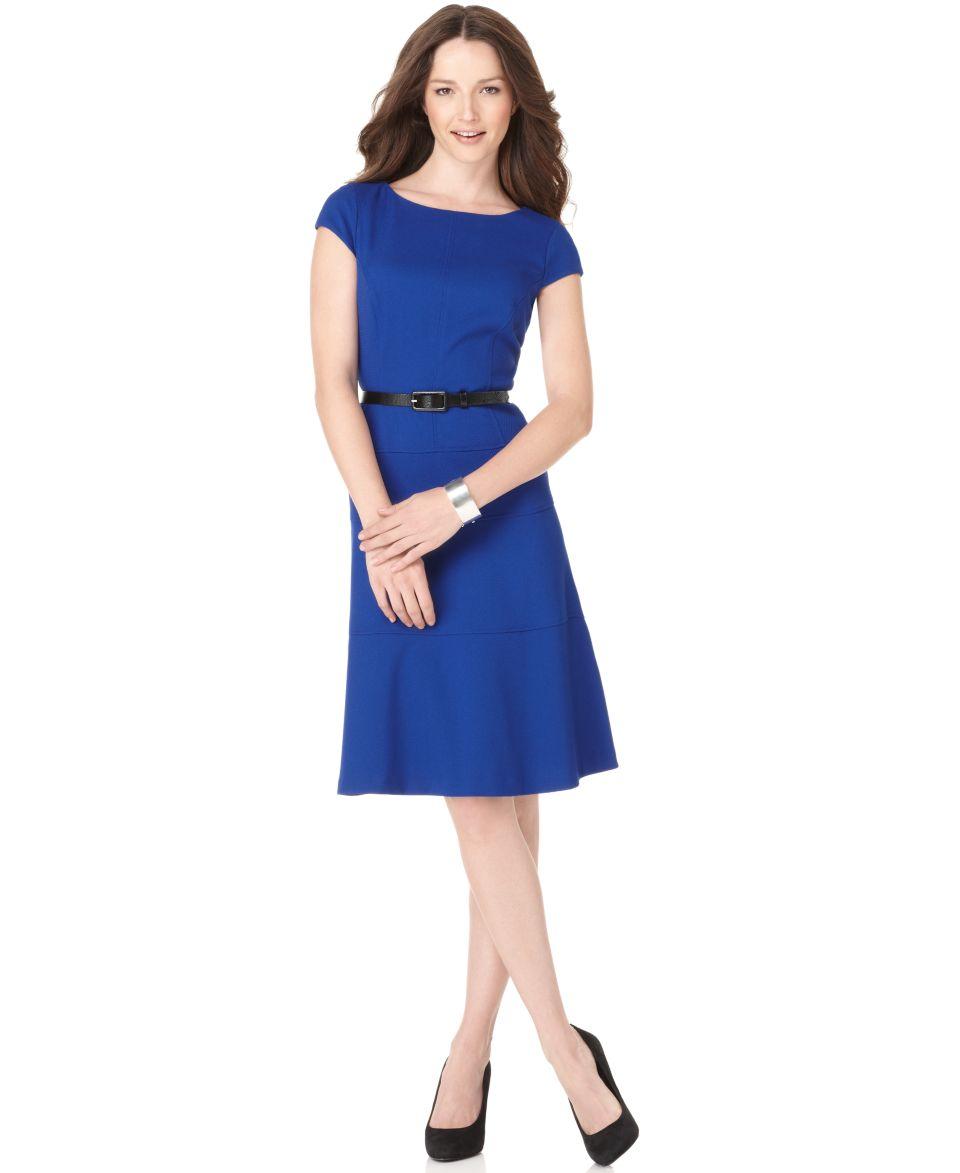 Anne Klein Cap Sleeve Belted A Line Dress   Dresses   Women