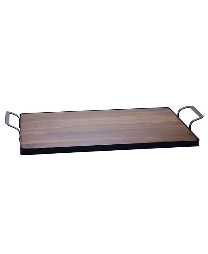 Certified International - Acacia Wood Tray with Metal Frame