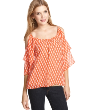 6 Degrees Top, Three Quarter Sleeve Shoulder Cutout Tiered Printed