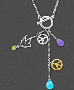 14k Gold and Sterling Silver Necklace, Dove and Peace Sign Multistone Pendant