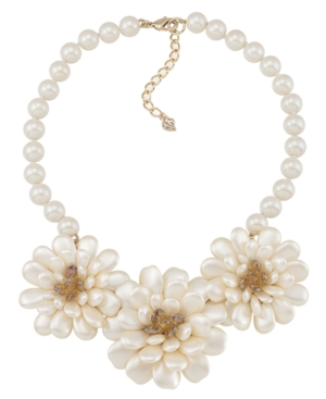 Carolee Necklace, Glass Bead Flower Necklace