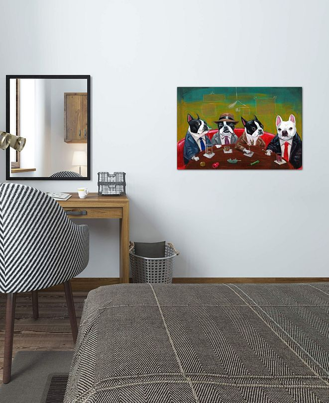 "iCanvas ""Three Boston Terriers And A French Bulldog"" by Brian Rubenacker Gallery-Wrapped Canvas Print"