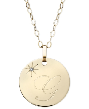 14k Gold Necklace, G Initial Diamond Accent Disc Pendant