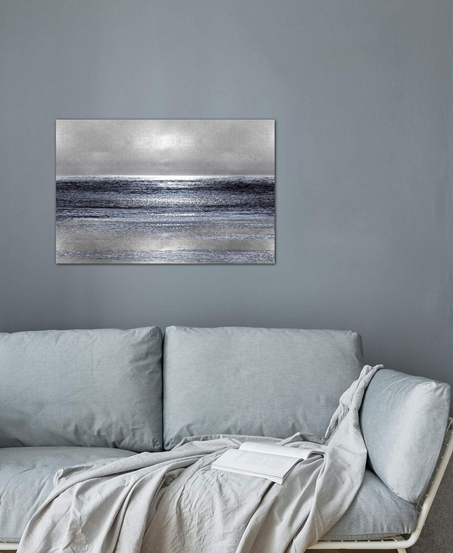 """iCanvas """"Silver Seascape III"""" by Michelle Matthews Gallery-Wrapped Canvas Print (26 x 40 x 0.75)"""