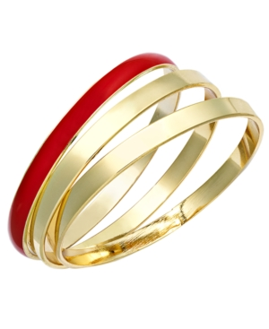 Charter Club Bracelet Set, Gold Tone and Red Resin Bangles
