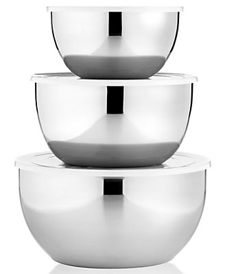 Martha Stewart Collection Covered Mixing Bowls, Set of 3 Stainless Steel