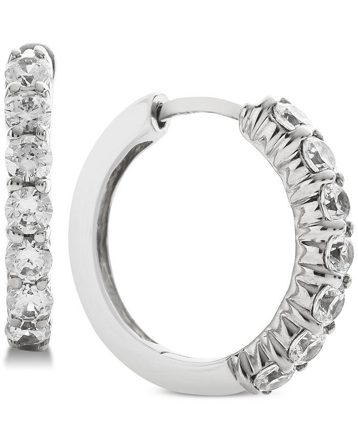 Macy's - Diamond Hoop Earrings (1 ct. t.w.) in 14k White Gold