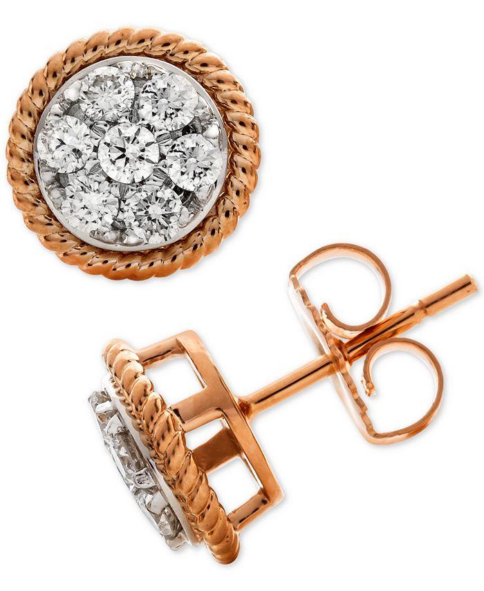 Macy's - Diamond Rope-Framed Cluster Stud Earrings (1/2 ct. t.w.) in 14k Rose & White Gold