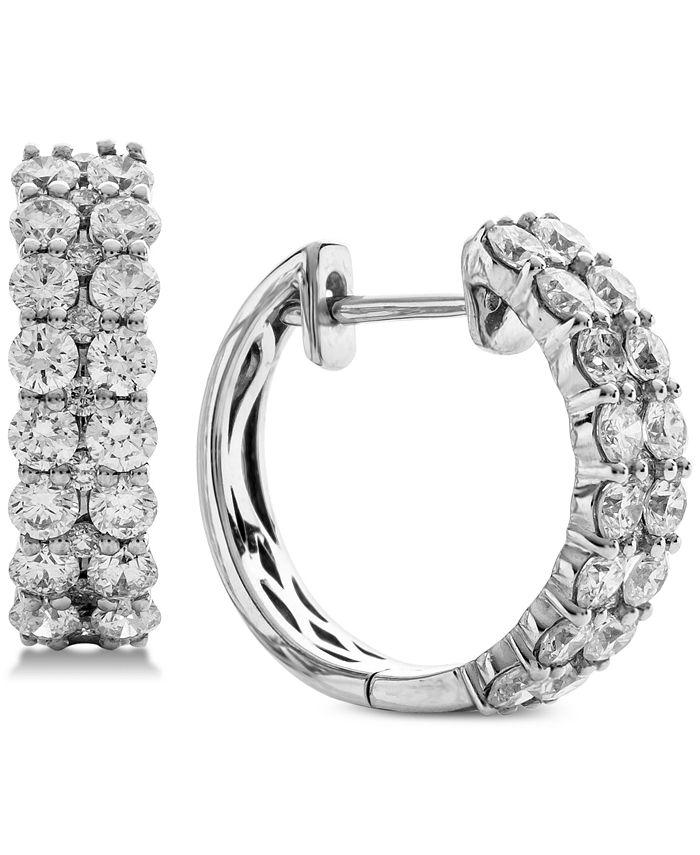 Macy's - Diamond Double Row Hoop Earrings (2 ct. t.w.) in 14k White Gold