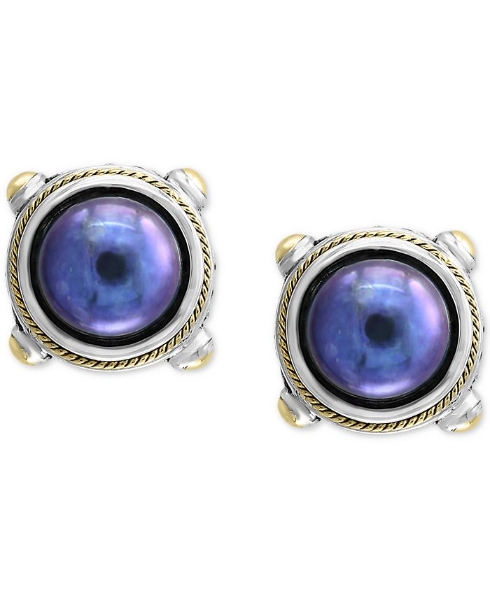 EFFY Collection - Dyed Cultured Freshwater Pearl (10mm) Stud Earrings in Sterling Silver & 18k Gold Over Silver