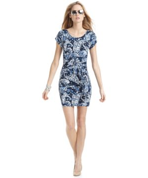 MICHAEL Michael Kors Plus Size Dress, Short Sleeve Printed Belted