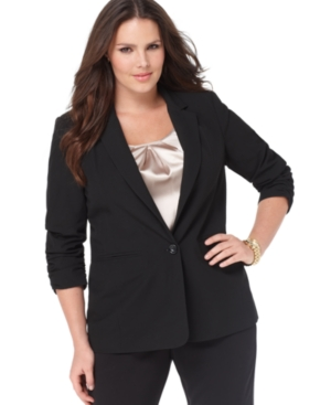 MICHAEL Michael Kors Plus Size One-Button Ruched Jacket