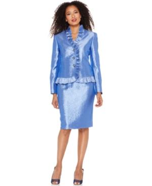 Kasper Suit, Ruffled Jewel Button Shimmer Jacket & Skirt