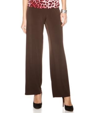 Ellen Tracy Pants, Wide Leg Knit Pull On