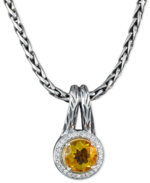 Balissima by Effy Collection Sterling Silver and 18k Gold Necklace, Citrine (1-5/8 ct. t.w.) and Diamond (1/8 ct. t.w.) Round Pendant