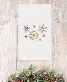 CLOSEOUT!  Linum Home Christmas Snowfall 100% Turkish Cotton Hand Towel