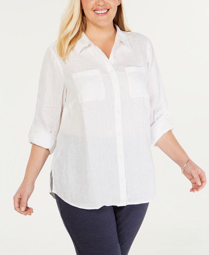 Charter Club - Plus Size Linen Utility Shirt