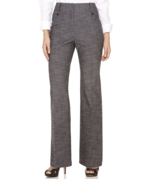 AGB Pants, Textured Button Tab Trousers