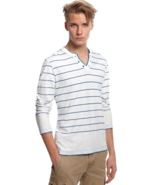 Bar III Shirt, Weatherspoon Striped Henley T Shirt