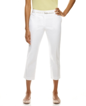 Charter Club Pants, Slim It Up Belted Straight Leg Cropped Capris