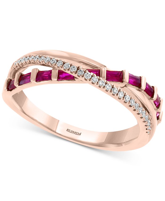 EFFY Collection - Certified Ruby (1/2 ct. t.w.) & Diamond (1/10 ct. t.w.) Crisscross Ring in 14k Rose Gold