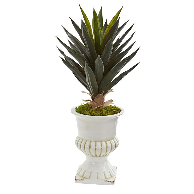 Nearly Natural Agave Artificial Plant in White Urn