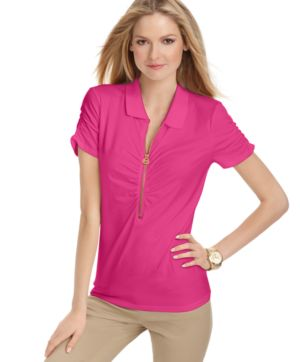 MICHAEL Michael Kors Petite Top, Short Sleeve Zipper Ruched Polo Top