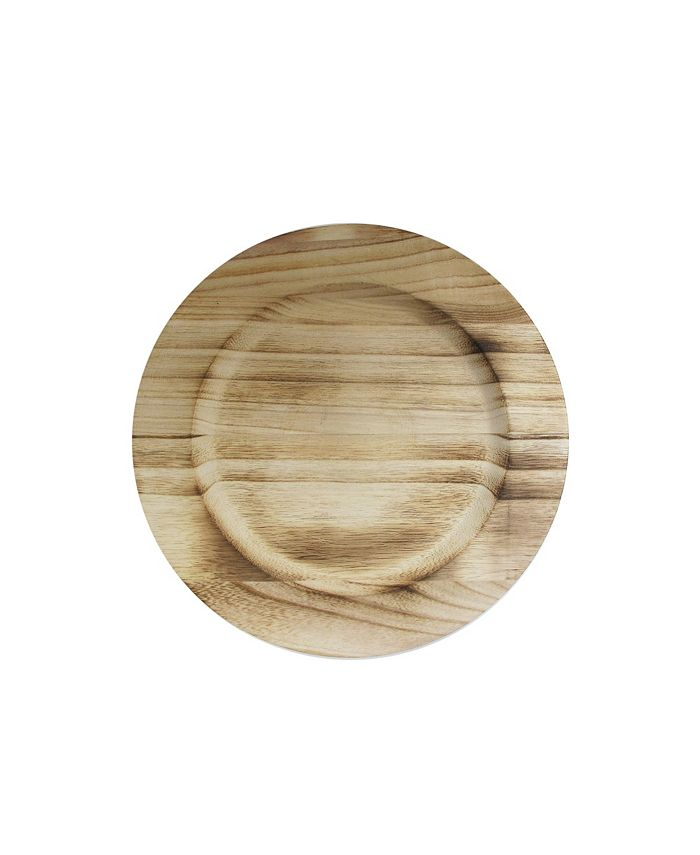 """American Atelier - WOODEN CHARGER-NATURAL FIRED 13""""D   PAULOWNIA WOOD"""