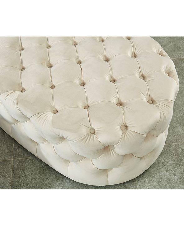 Furniture of America Pendleton I Flannelette Tufted Oval Ottoman