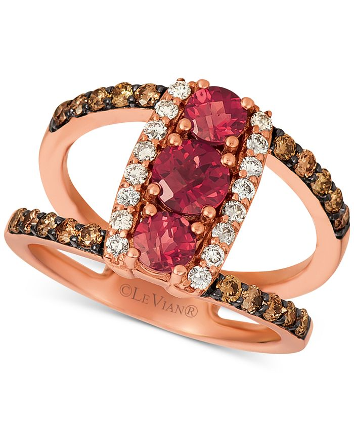 Le Vian - Rhodolite (1 ct. t.w.) & Nude™ & Chocolate™ Diamond (5/8 ct. t.w.) Statement Ring in 14k Rose Gold