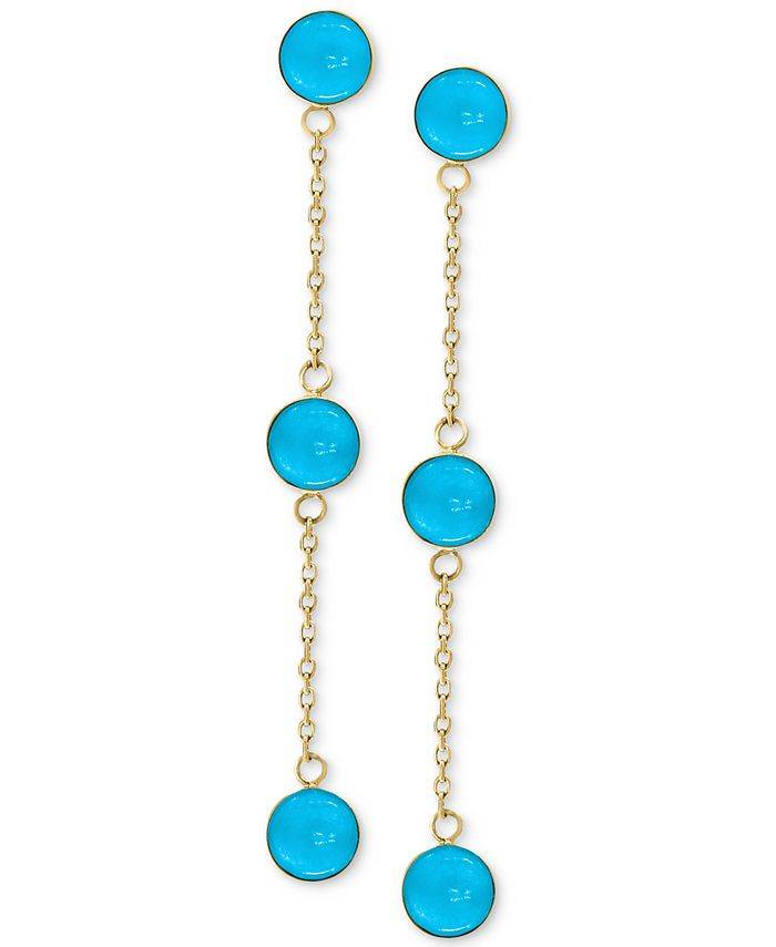 EFFY Collection - Turquoise (5mm) Drop Earrings in 14k Gold