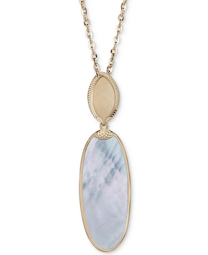 "Macy's - Mother-of-Pearl Oval Pendant Necklace in 14k Gold-Plated Sterling Silver, 18"" + 2"" extender"