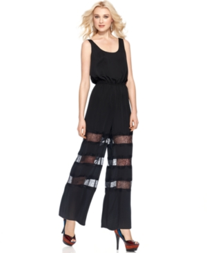 BCBGeneration Jumpsuit, Sleeveless Scoop Neck Relaxed Lace Wide Leg