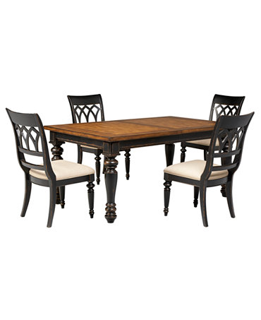 Dakota dining room furniture 5 piece set table and 4 for Macys dining table