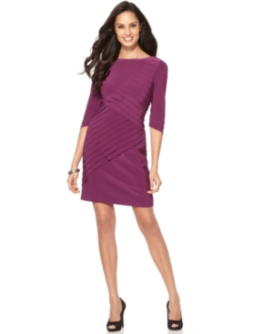 Adrianna Papell Petite Dress, Three Quarter Sleeve Pleated