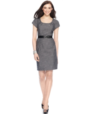 AGB Petite Dress, Cap Sleeve Belted Textured Sheath