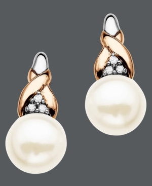 14k Rose Gold and Sterling Silver Earrings, Cultured Freshwater Pearl and Diamond Accent Earrings