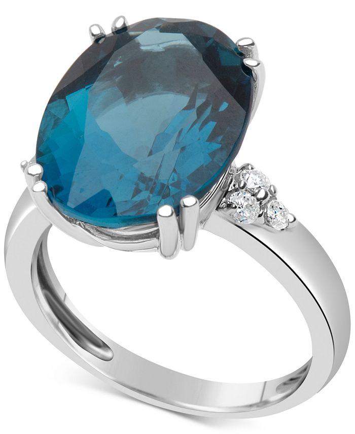 Macy's - Blue Topaz (12 ct. t.w.) & Diamond (1/5 ct. t.w.) Ring in 14k White Gold