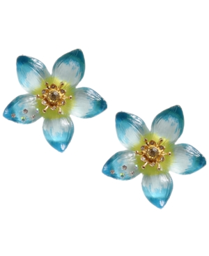 Betsey Johnson Earrings, Large Blue Flower Stud Earrings
