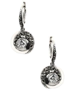 Judith Jack Earrings, Sterling Silver Cubic Zirconia (1 ct. t.w.) and Marcasite Drop Earrings