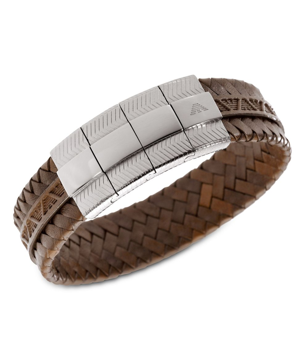Emporio Armani Mens Bracelet, Braided Brown Leather Bracelet EGS1535040   Fashion Jewelry   Jewelry & Watches