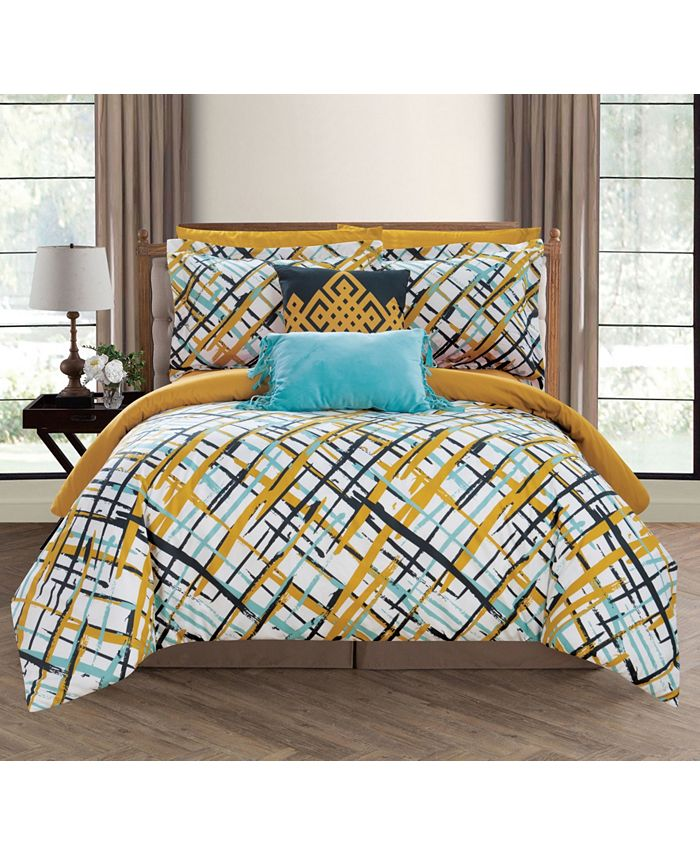 Chic Home - Abstract 9-Pc. Bed In a Bag Comforter Set Collection
