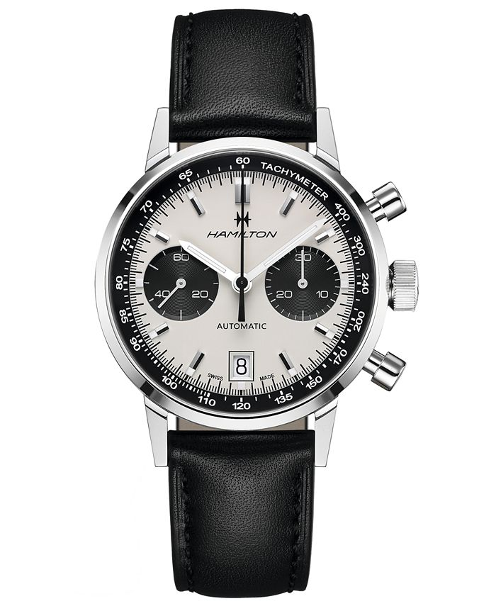 Hamilton - Men's Swiss Automatic Chronograph Intra-Matic Black Leather Strap Watch 40mm